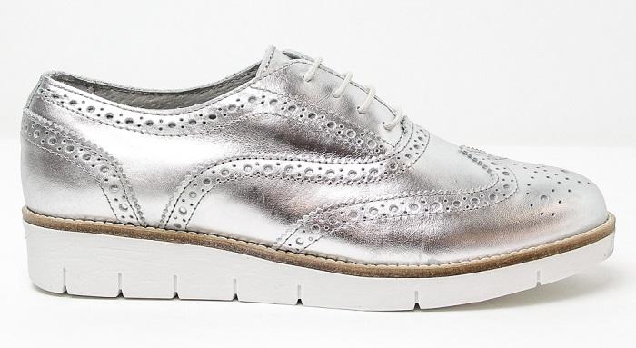 Zapatos Oxford de piel en tonos plata